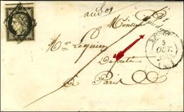 Grille / N° 3 Très Belles Marges Càd T 14 BETHUNES (61) Cursive 61 / Houdain Sur Lettre Adressée à Un Député De L'Assemb - 1849-1850 Ceres