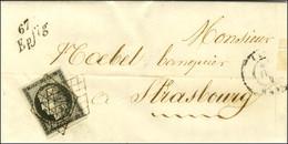 Grille / N° 3 (infime Froissure) Cursive 67 / Epfig Sur Lettre Avec Texte Daté Epfig Le 4 Mai 1849 Pour Strasbourg. - TB - 1849-1850 Ceres