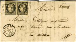 Grille / N° 3 (paire, 1ex Def) Càd CAZAUBON (31) Cursive 31/ Estang Sur Lettre Avec Texte Adressée En Double Port à Auch - 1849-1850 Ceres