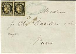 Grille / N° 3 Paire, Très Belles Marges Cursive 84 / Montagny Sur Lettre Avec Texte Daté De Montagny Le 13 Septembre 184 - 1849-1850 Ceres