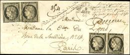 Grille / N° 3 (2 Paires, Def) Càd T 15 VALENCE-S-RHÔNE (25) Sur Lettre Chargée Pour Paris, Au Recto Griffe Rouge CHARGÉ  - 1849-1850 Ceres