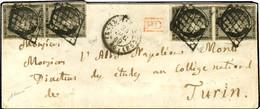Grille / N° 3 (paire + 2ex, Belles Marges) Càd (ES2) PARIS (ES2) 60 24 DEC. 49 Sur Lettre Pour Turin. - TB / SUP. - RR. - 1849-1850 Ceres