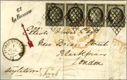 Grille / N° 3 Bande De 4, Très Belles Marges Càd T 15 ARDRES-EN-CALAIS 61 1 JUIL. 50 Cursive 61 / La Recousse Sur Lettre - 1849-1850 Ceres