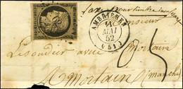 PC 62 / N° 3 Noir Sur Chamois Càd T 15 AMBRIÈRES (51) 11 MAI 52 Sur Devant De Lettre Pour Mortain, Au Recto Mention Manu - 1849-1850 Ceres