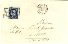 Grille / N° 4 Bleu Foncé Càd ASSEMBLÉE NATIONALE / POSTES Sur Lettre Avec Texte Pour Anet. 1851. - SUP. - R. - 1849-1850 Ceres