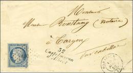 PC 630 / N° 4 Belles Marges Càd T 15 MONSEGUR (32) Cursive 32 / Castelmoron / D'Albret Sur Lettre Pour Targon. 1852. - S - 1849-1850 Ceres