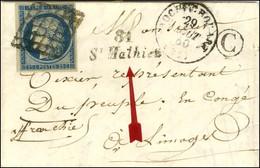 Grille / N° 4 Belles Marges Càd T 15 ROCHECHOUART (81) Cursive 81 / St Mathieu, B Rur C Sur Lettre Avec Texte Pour Limog - 1849-1850 Ceres