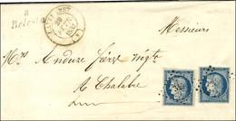 PC 345 / N° 4 (2) Belles Marges Càd T 14 LAVELANET (8) Cursive 8 / Belesta Sur Lettre En Double Port Pour Chalabre. 1852 - 1849-1850 Ceres