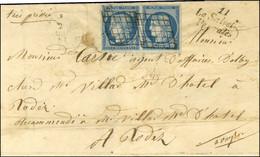 Grille / N° 4 (paire, Belles Marges) Cursive 11 / La Salvetat / Peyralès Sur Lettre 2 Ports Pour Rodez, Au Verso Càd D'a - 1849-1850 Ceres