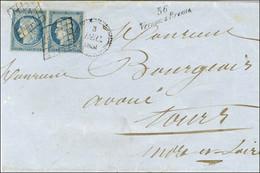 Grille / N° 4 (paire, 1ex Leg Def) Cursive 36 / Vernou-s-Brenne Sur Lettre 2 Ports Pour Tours. Rarissime Cursive Créée E - 1849-1850 Ceres