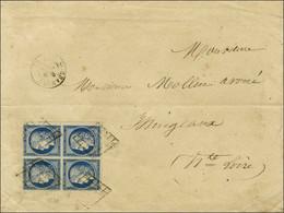 Grille / N° 4 Bloc De 4, Petit Bdf, Très Belles Marges Càd T 15 SAINT-CHAMOND (84) Sur Lettre 3 Ports Pour Yssingeaux. 1 - 1849-1850 Ceres