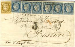 Grille Sans Fin / N° 1 + N° 4 (paire + Bande De 4, Qlq Def) Càd PARIS (60) Sur Lettre Pour Boston. 1852. - TB. - R. - 1849-1850 Ceres