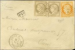 Ancre / N° 38 + N° 56 Paire Càd LIGNE N / PAQ. FR. N° 6 4 MAI 74 Sur Lettre Pour Paris. - SUP. - R. - 1870 Siege Of Paris