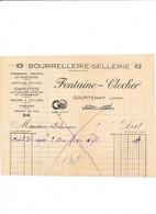 Facture Bourrellerie Sellerie FONTAINE CLOCHER   à COURTENAY 45 Loiret - 1900 – 1949