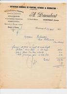 Facture Entreprise De Peinture DAEUBERT   à COURTENAY 45 Loiret - 1900 – 1949