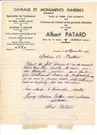 Facture Caveaux Et Monuments Funèbres ALBERT PATARD   à COURTENAY 45 Loiret - 1900 – 1949