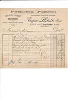 Facture Plomberie LHOSTE   à COURTENAY 45 Loiret - 1900 – 1949