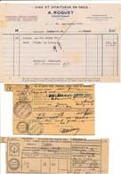 Facture Et Congé Vins Et Spiritueux ROGUET  à COURTENAY 45 Loiret - 1900 – 1949