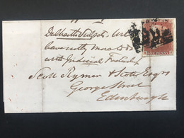 GB 1848 Victoria Wrapper Dalkeith Boxed Cancel To Edinburgh Tied With 1d Red Imperf - Covers & Documents