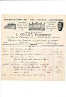 Facture Illustrée Serrurerie ( Prévost ) Succ. COLLET à  COURTENAY 45 Loiret - 1900 – 1949