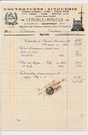 Facture Illustrée Couvertures Zinguerie LENOBLE MADEUX  à  COURTENAY 45 Loiret - 1900 – 1949