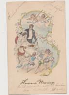 Carte Fantaisie Dessinée/ Heureux Mariage /Jeune Couple Entouré D'angelots - Angels