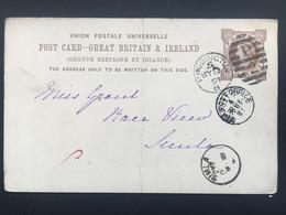 GB Victoria 1891 Stationary Postcard Paddington Duplex To Simla India With Additional Sea Post Office Mark - Briefe U. Dokumente