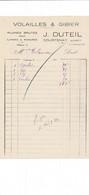 Facture Volailles Gibier DUTEIL   à  COURTENAY 45 Loiret - 1900 – 1949