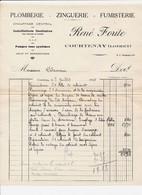 Facture Plomberie RENE FORITE   à  COURTENAY 45 Loiret - 1900 – 1949