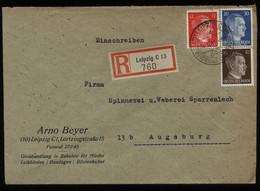 WW II DR PLZ 10 R - Briefumschlag Mit Hitler Briefmarken: Gebraucht Leipzig Messestadt - Augsburg 4.10.1944 , Bedarfse - Brieven En Documenten