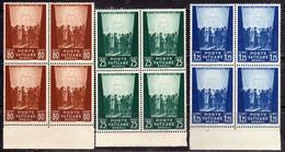 VATICANO VATIKAN VATICAN 1942 PRO PRIGIONIERI MCMXLII SERIE COMPLETA PRISONERS COMPLETE SET QUARTINA BLOCK MNH - Unused Stamps