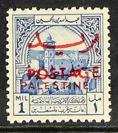 OBLIGATORY TAX 1953 1m Ultramarine, Inscribed Mils/Palestine Opt & Postage Opt, SG 395, Never Hinged Mint For More Image - Giordania
