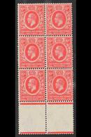 1921 (wmk Mult Script CA) 6c Carmine-red, SG 67, Marginal BLOCK OF SIX Never Hinged Mint. For More Images, Please Visit  - Vide