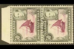 1938-54 50c Purple And Black, SG 144, Vertical Upper Marginal Pair, Showing Large Black Ink Smudge Across Both Stamps, F - Vide