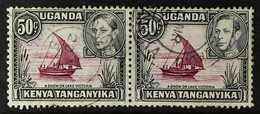 1938-54 KGVI Definitive 50c Purple And Black, Perf 13x12½, HORIZONTAL PAIR, One With Dot Removed And One Normal, SG 144e - Vide