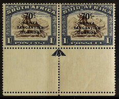 """1941-42 VARIETY 70c On 1s Brown And Chalky Blue, Variety """"CRESCENT MOON"""", SG 154a, Lower Marginal Horizontal Pair With B - Vide"""
