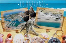 Carte Postale D Animal Animaux - Avec Chat - Cat - Gato à Le Barcares 66 - Cats