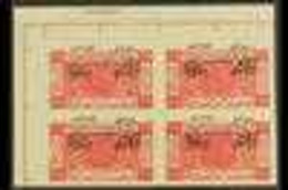 1925 ½p Carmine, INVERTED OVERPRINT, SG 137a, Superb IMPERF CORNER BLOCK OF FOUR On Gummed Paper. For More Images, Pleas - Giordania