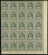 1942 2m Green, No Wmk, Perf 13½, SG 223, CORNER BLOCK OF 25 Stamps (5 X 5), Never Hinged Mint (25 Stamps) For More Image - Giordania