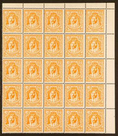 """1942 5m Yellow-orange """"Emir"""", No Wmk, Perf 13½, SG 226, CORNER BLOCK OF 25 Stamps (5 X 5), Never Hinged Mint (25 Stamps) - Giordania"""