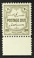 POSTAGE DUES 1944 20m Olive Green, SG D248, Very Fine Marginal Never Hinged Mint. For More Images, Please Visit Http://w - Giordania