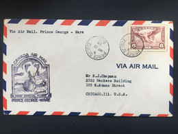 CANADA 1938 First Flight Cover Prince George To Ware - Brieven En Documenten