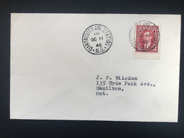 CANADA George VI Cover Dartmouth Air Station Postmark To Hamilton Ont. - Brieven En Documenten
