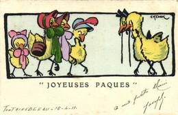 """M M VIENNE Nr 248 CK COOK  """"JOYEUSES PAQUES """" Poule Et Poussins Humanisés - Pasen"""