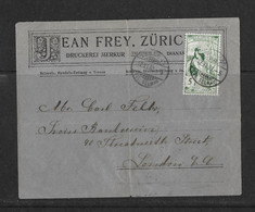 1900 HEIMAT ZÜRICH → Geschäfts-Briefumschlag Jean Frey, Druckerei Merkur Zürich Nach London  ►UPU 77A◄ - Covers & Documents