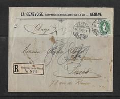 """1902 HEIMAT GENÈVE → Reco-Briefumschlag """"La Genevoise"""" Von Genève Nach Paris (retour / Inconnu)   ►SBK-74E◄ - Covers & Documents"""