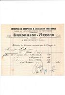 Facture Entreprise De Charpentes DARDAILLON ARRANG  à  COURTENAY 45 Loiret - 1900 – 1949