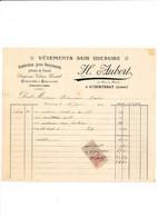 Facture Vêtements Sur Mesure AUBERT  à  COURTENAY 45 Loiret - 1900 – 1949