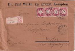BAYERN 1887 LETTRE RECOMMANDEE DE KEMPTEN AVEC CACHET ARRIVEE WEILER - Bavaria