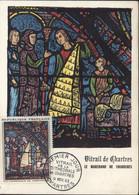 CM Carte Maximum Vitrail Chartres Marchand Fourrures Cachet 1er Premier Jour Chartres 9 NOV 63 Cote YT 18 € - 1960-1969